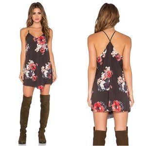 Free People Cascade Slip Mini Dress Floral Black